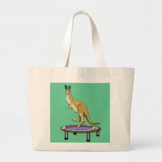 Kangaroo and Trampoline Large Tote Bag
