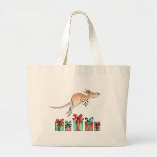 Kangaroo animal hopping over gift tote bag