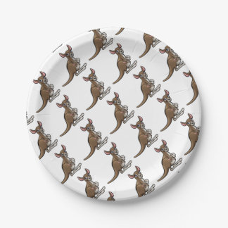 Kangaroo Animals Cartoon Character Paper Plate