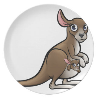 Kangaroo Animals Cartoon Character Plate
