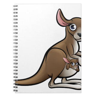 Kangaroo Animals Cartoon Character Spiral Notebook