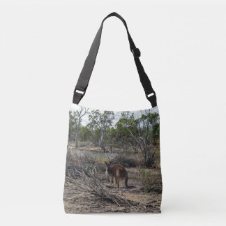 Kangaroo At Billabong Full Print Cross Body Bag