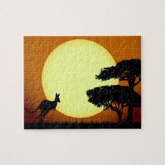 Kangaroo at sunset jigsaw puzzle