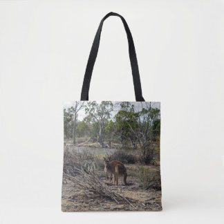 Kangaroo At The Billabong, Full Print Shopping Bag