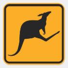 Kangaroo Australia Sign (pack of 6/20) Square Sticker