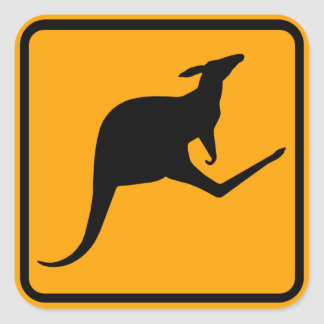 Kangaroo Australia Sign (pack of 6/20) Square Sticker