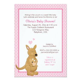 Kangaroo Baby Shower Invitation with Pink Dots