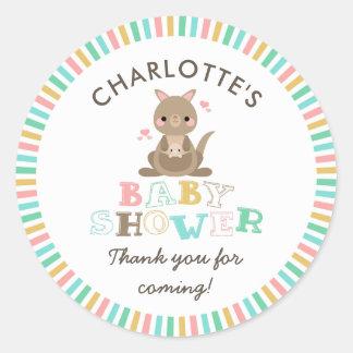Kangaroo Baby Shower Thank You Classic Round Sticker