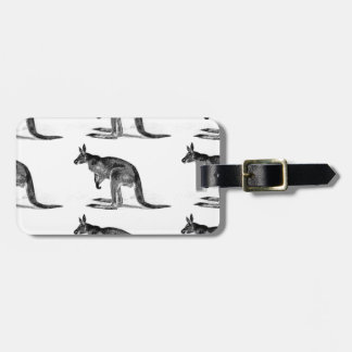 kangaroo boxed in square luggage tag