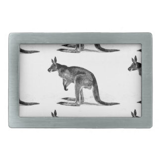 kangaroo boxed in square rectangular belt buckle