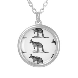 kangaroo boxed in square silver plated necklace