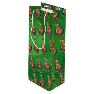 Kangaroo Christmas on Painted Green Back Wine Gift Bag