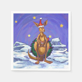 Kangaroo Christmas Starry Night Disposable Napkins