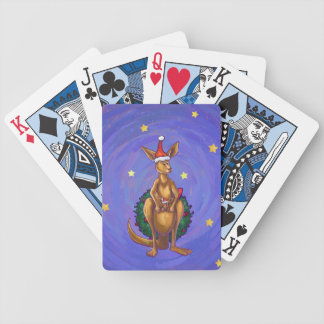 Kangaroo Christmas Starry Night Poker Deck