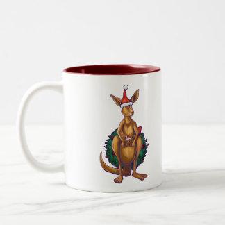 Kangaroo Christmas Starry Night Two-Tone Coffee Mug