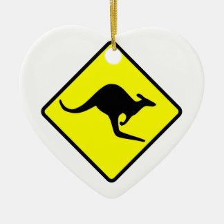 KANGAROO CROSSING - down under/oz/australia/aussie Ceramic Heart Ornament