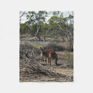 Kangaroo Down At  Billabong Small Fleece Blanket.