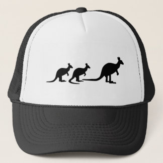 Kangaroo family trucker hat