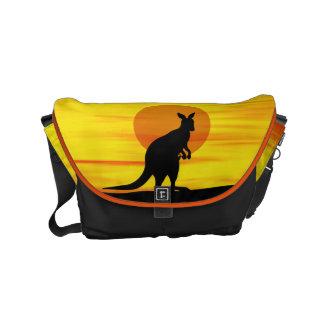 Kangaroo in outback Sunset Messenger Bag