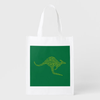 Kangaroo made of Australian slang Grocery Bags