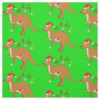 Kangaroo Mom and Joey at Christmas Hoppy Holidays Fabric