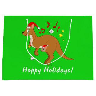 Kangaroo Mom and Joey at Christmas Hoppy Holidays Large Gift Bag