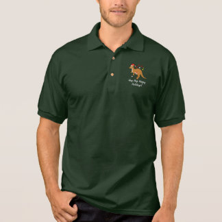 Kangaroo Mom and Joey at Christmas Hoppy Holidays Polo Shirt