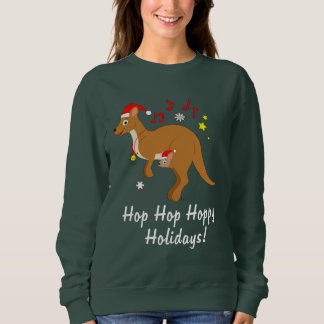 Kangaroo Mom and Joey at Christmas Hoppy Holidays Sweatshirt