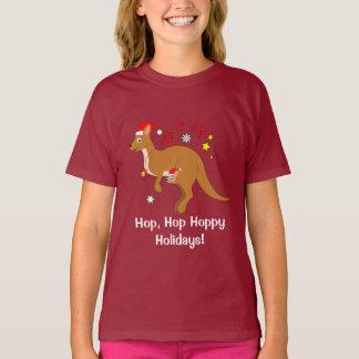 Kangaroo Mom and Joey at Christmas Hoppy Holidays T-Shirt