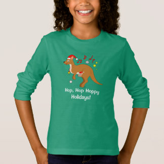 Kangaroo Mom and Joey at Christmas Hoppy Holidays T-Shirt