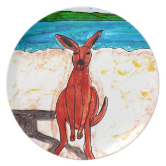 Kangaroo on Beach Plate