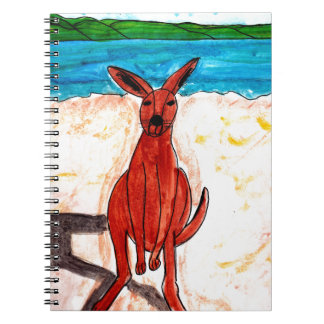 Kangaroo on Beach Spiral Notebook