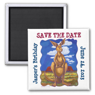 Kangaroo Party Center Square Magnet
