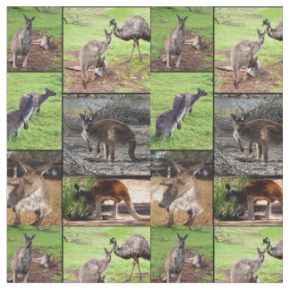 Kangaroo Photo Collage, Combed Cotton Material Fabric