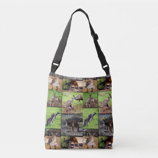 Kangaroo Photo Collage, Full Print Crossbody Bag. Crossbody Bag