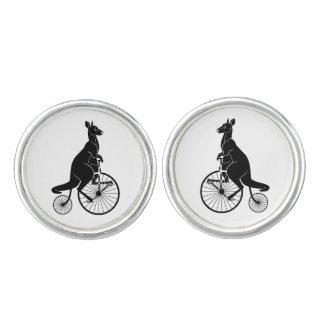 Kangaroo Rider on Antique Bike Cufflinks
