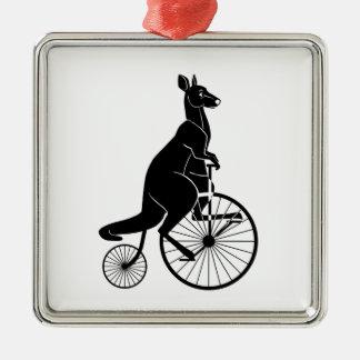 Kangaroo Riding a Bike Metal Ornament