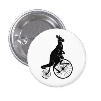 Kangaroo Riding a Penny Farthing 1 Inch Round Button