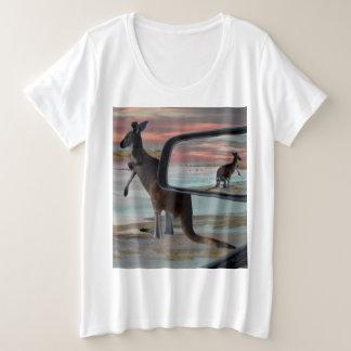Kangaroo Seaside Breezes Illusion Art, Plus Size T-Shirt
