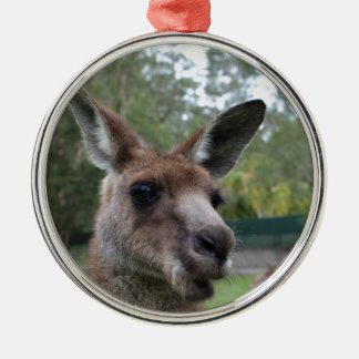 Kangaroo selfie Silver-Colored round ornament