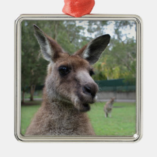 Kangaroo selfie Silver-Colored square ornament