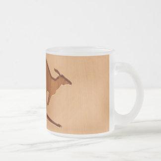Kangaroo silhouette engraved on wood design 10 oz frosted glass coffee mug