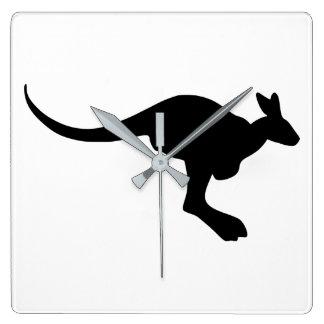 Kangaroo Silhouette Square Wall Clock