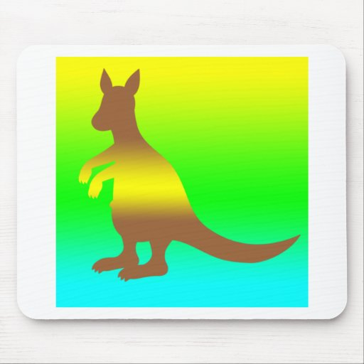 Kangaroo Silhoutte fresh yellow and green Mousepads