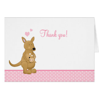 Kangaroo Thank you Notes - Mommy and Baby Pink Note Card