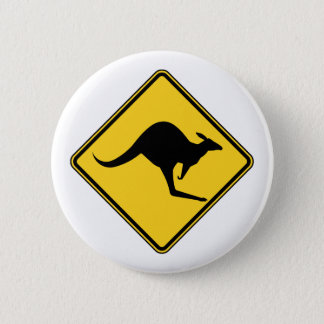 kangaroo warning danger in australia day 2 inch round button