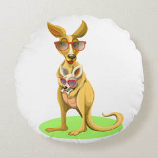 Kangaroo with glasses round pillow
