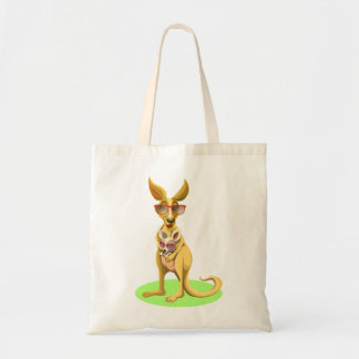 Kangaroo with glasses tote bag