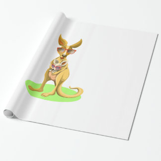 Kangaroo with glasses wrapping paper