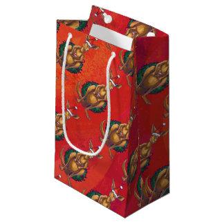 Kangaroo Xmas On Red Small Gift Bag